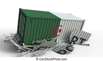 Cargo container with flag of Algeria breaks container with...