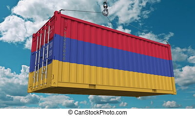 Cargo container with flag of Armenia. Armenian import or export related conceptual 3D animation