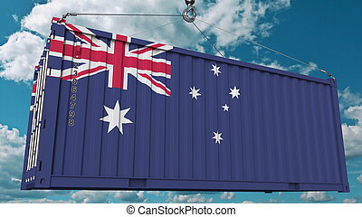 Cargo container with flag of Australia. Australian import or export related conceptual 3D rendering
