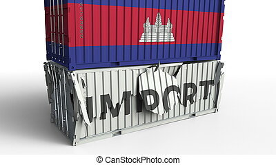 Cargo container with flag of Cambodia breaks container with IMPORT text. Conceptual 3D rendering