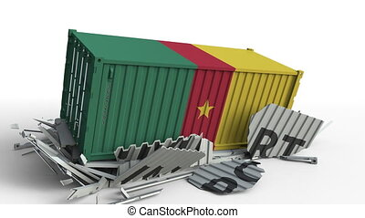 Cargo container with flag of Cameroon breaks container with...