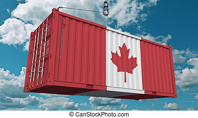 Cargo container with flag of Canada. Canadian import or export related conceptual 3D rendering