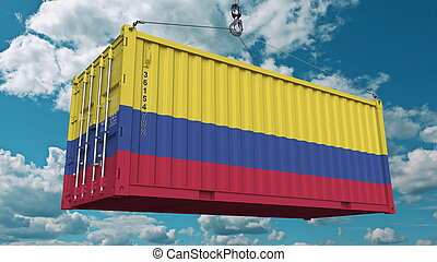 Cargo container with flag of Colombia. Colombian import or export related conceptual 3D rendering
