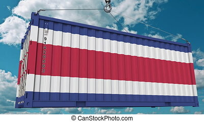 Cargo container with flag of Costa Rica. Import or export...