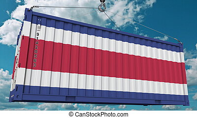 Cargo container with flag of Costa Rica. Import or export related conceptual 3D rendering