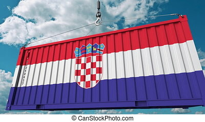 Cargo container with flag of Croatia. Croatian import or...