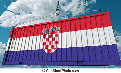 Cargo container with flag of Croatia. Croatian import or export related conceptual 3D rendering