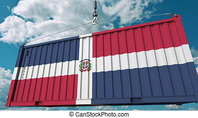 Cargo container with flag of Dominican Republic. Import or export related conceptual 3D animation