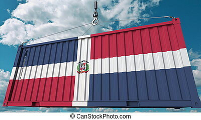 Cargo container with flag of Dominican Republic. Import or export related conceptual 3D rendering