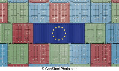 Cargo container with flag of EU. European Union import or export related 3D animation