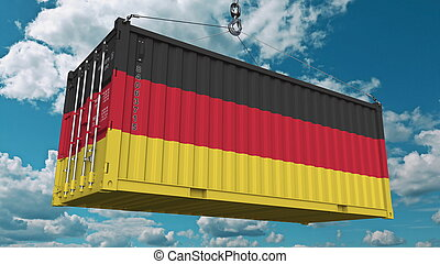 Cargo container with flag of Germany. German import or export related conceptual 3D rendering