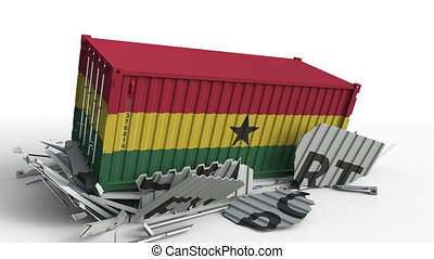 Cargo container with flag of Ghana breaks container with...