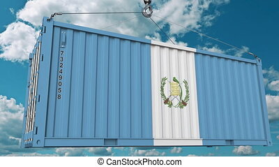 Loading cargo container with flag. Import or export related conceptual 3D animation