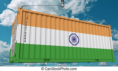Cargo container with flag of India. Indian import or export...