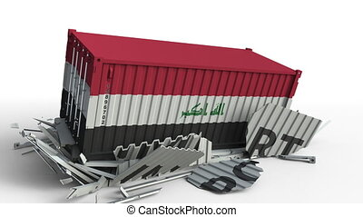 Cargo container with flag of Iraq breaks container with...