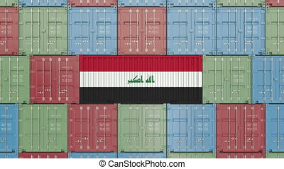Cargo container with flag of Iraq. Iraqi import or export...