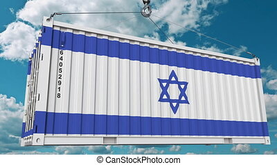 Cargo container with flag of Israel. Israeli import or...