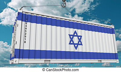 Cargo container with flag of Israel. Israeli import or export related conceptual 3D rendering