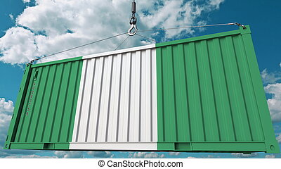 Cargo container with flag of Nigeria. Nigerian import or export related conceptual 3D rendering