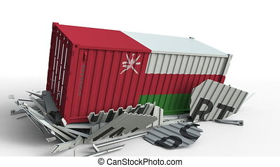 Cargo container with flag of Oman breaks container with...