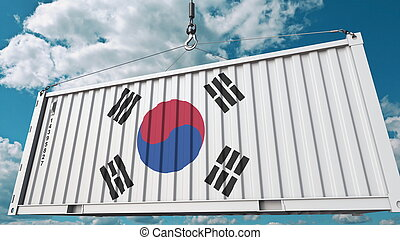 Cargo container with flag of South Korea. Korean import or export related conceptual 3D rendering