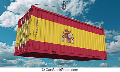 Cargo container with flag of Spain. Spanish import or export related conceptual 3D rendering