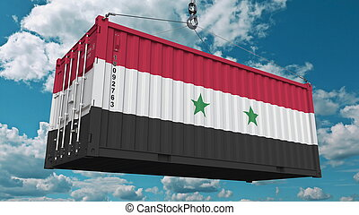 Cargo container with flag of Syria. Syrian import or export related conceptual 3D rendering