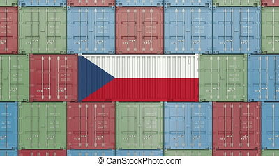 Cargo container with flag of the Czech Republic. Import or export related 3D animation