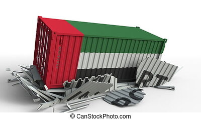 Cargo container with flag of the UAE breaks container with...