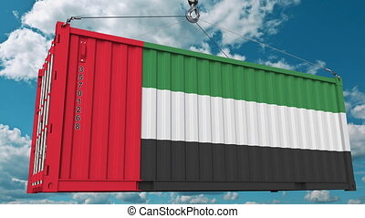 Cargo container with flag of the United Arab Emirates. UAE...