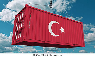 Cargo container with flag of Turkey. Turkish import or export related conceptual 3D rendering