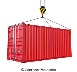Cargo container with hook isolated on white