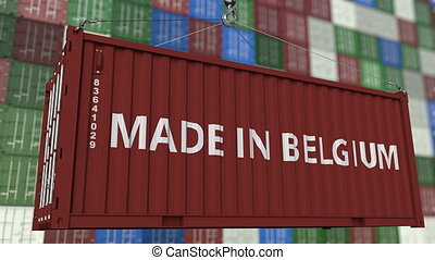 Cargo container with MADE IN BELGIUM caption. Belgian import...