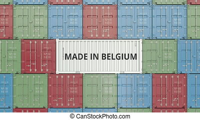 Cargo container with MADE IN BELGIUM text. Belgian import or...
