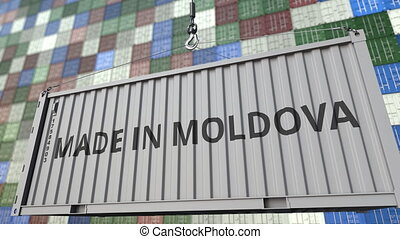 Cargo container with MADE IN MOLDOVA caption. Moldovan...