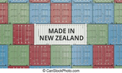 Cargo container with MADE IN NEW ZEALAND text. Import or...