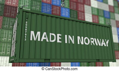 Cargo container with MADE IN NORWAY caption. Norwegian...