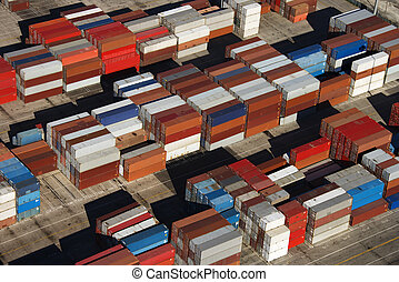 Cargo containers. - Aerial view of cargo containers piled...