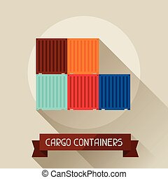 Cargo containers icon on background in flat design style