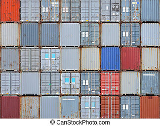 Stacked shipping containers at cargo terminal