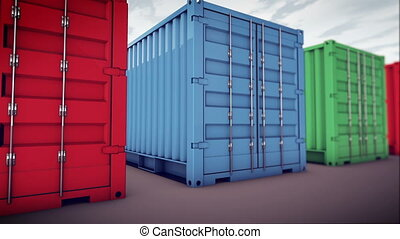 """cargo containers"" - ""3d cargo containers in row"""
