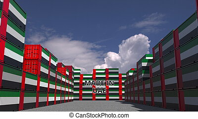 Cargo containers with MADE IN UAE text and national flags. Import or export related 3D rendering