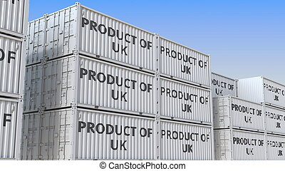 Cargo containers with PRODUCT OF UK text, 3D rendering