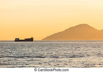 cargo, coucher soleil, voile
