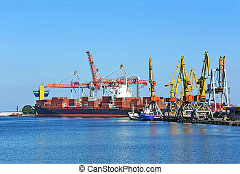 Cargo crane and ship - Container stack and ship under crane ...