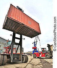 cargo crane and lift at the port with a cargo