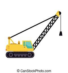 cargo crane truck tractor machinery industry hammer vector grap