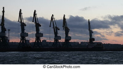 Cargo cranes in the port - Marine cargo cranes in the port ...