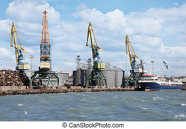 Cargo cranes in the sea port