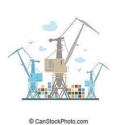 Cargo Cranes  Isolated on White
